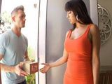 Brunette Milf Will Make Sure That New Delivery Boy Remember Forever His First Day On Work