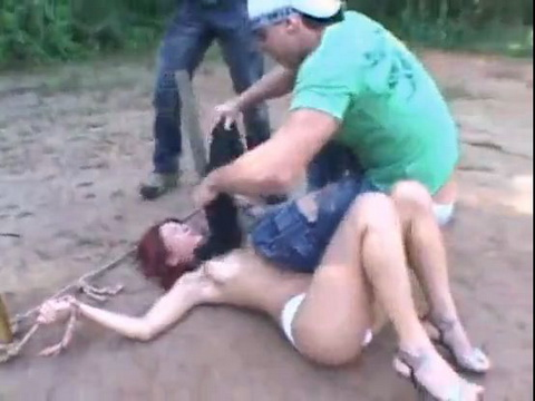Redhead Viciously Taken Into Woods Victimized By Two Aggressive Guys