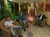 Stunning Sexy Blonde Prepared A Litlle Party For Her Horny Colleagues From Work