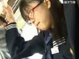 Japanese Nerd Schoolgirl Groped and Fucked In Bus