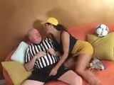 Dirty Old Coach Drilling With His Girl On The Sofa