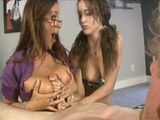 Busty Mom Teaches Her Inexperienced Daughter How To Handle Cock