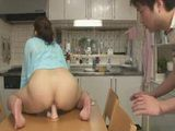 Boy Caught Stepmom Fucking Dildo in Kitchen