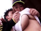 Busty Jogging Girl Hitomi Tanaka Gangbanged In the Park