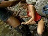 British Blond Jamie Gets Anal Fucked in the Stream by a Big Black Cock