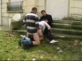 French Hooker Fucked Outdoor By Two Guys