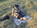 Lying In The Open Field Drunk and Half Naked Blonde Girl Attract Attention Of Horny Passerby
