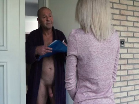 Perv Grandpa Flashes Cock In Front Of Delivery Girl