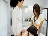 Boy Having Affair With His Stepmom In Kitchen