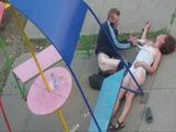 Totally Wasted Drunk Russian Couple Fucking In The Public Park