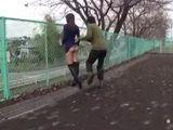 Asian Slut Fucked In Her Backyard By Two Pervert Guys