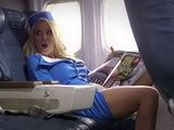 Waiting For Turbulence With Hot Blonde Busty Stewardess