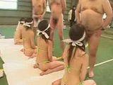 Japanese pornstars line up blindfolded and suck cock