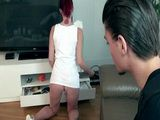 Cable TV Repairman Gets Very Nice Surprise In Redheads Condo