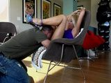 Stunning Blonde Gets Pleased By Husbands Bets Friend At Her House