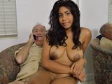 Busty Ebony Is So Sad Cause White Grandpa Cant Fuck Her Hard So He Calls His Buddy