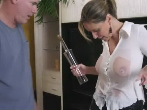 Excited Stepson Offers To His Milf Stepmom Help With Cleaning The House