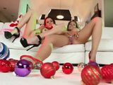 Two Busty Lesbians Having Perfect Christmas Lesbian Action