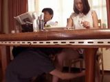 Immodest Teenager Fooling Around Under The Table With Uncles Wife While He Is Reading A Paper