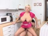 Huge Boobs Blonde MILF Likes It On A Kitchen Table