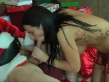 Naughty Teen Gives Blowjob and Ride Santas Dick and He Cum on Her Face